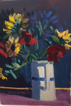 """'Jug With Stripe' oil on canvas 14"""" x 10"""" £1,800"""