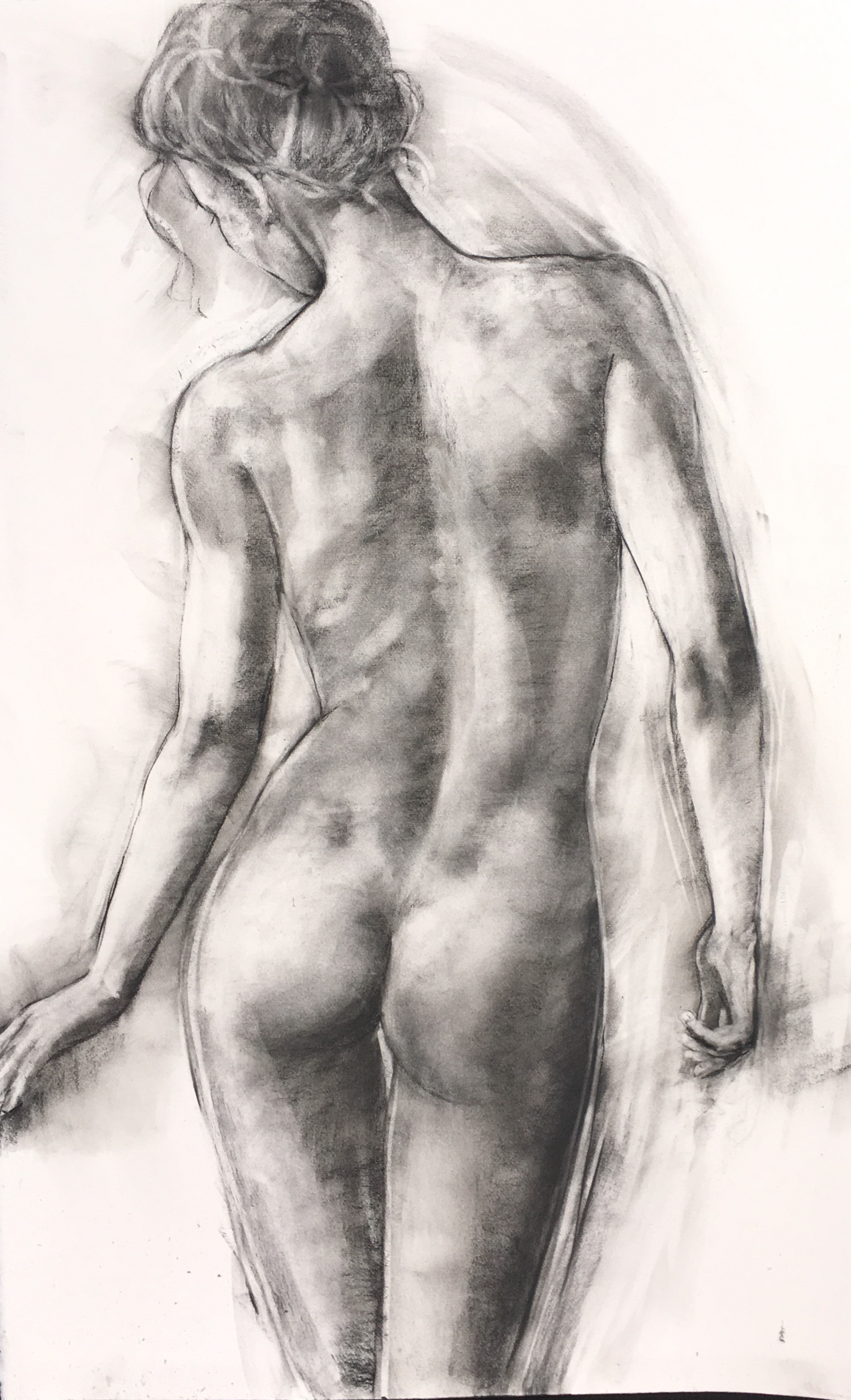 "'Beauty' charcoal and pastel on paper 39"" x 25"" £2,200"