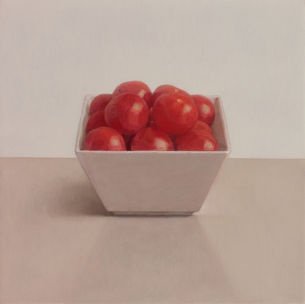 "Cherry Tomatoes oil on canvas 8"" x 8"" £1600"