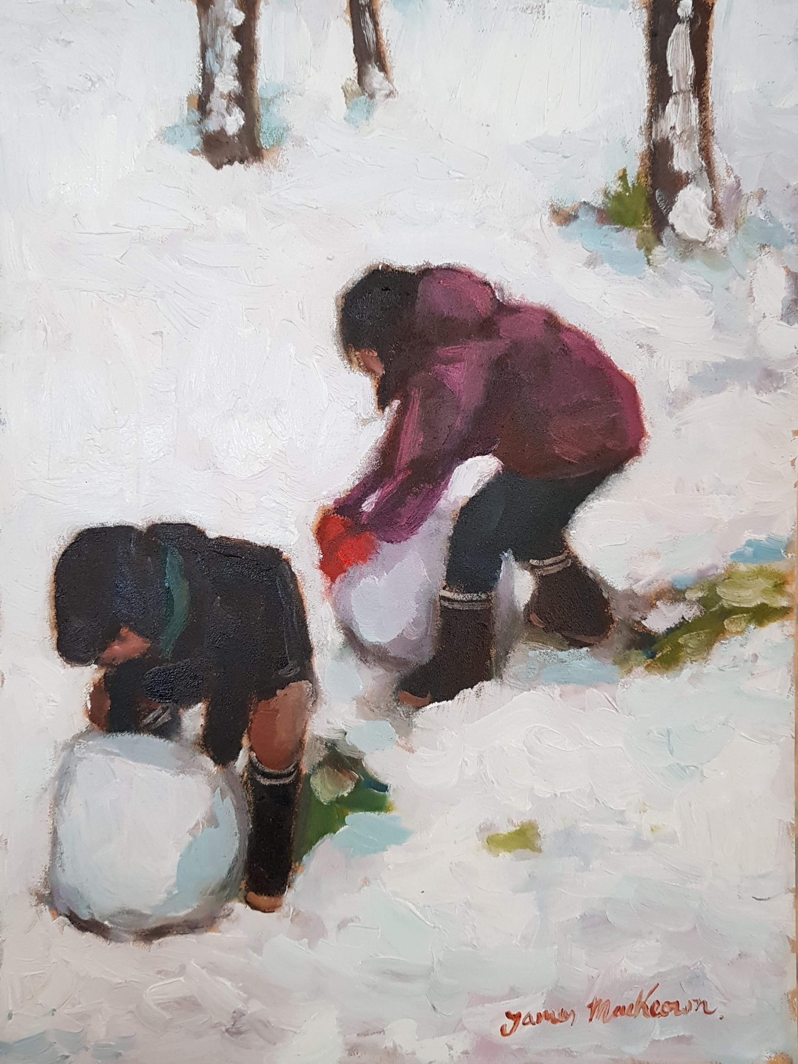 "James MacKeown 'The Big Snow Balls' oil on canvas 15.5"" x 9"""