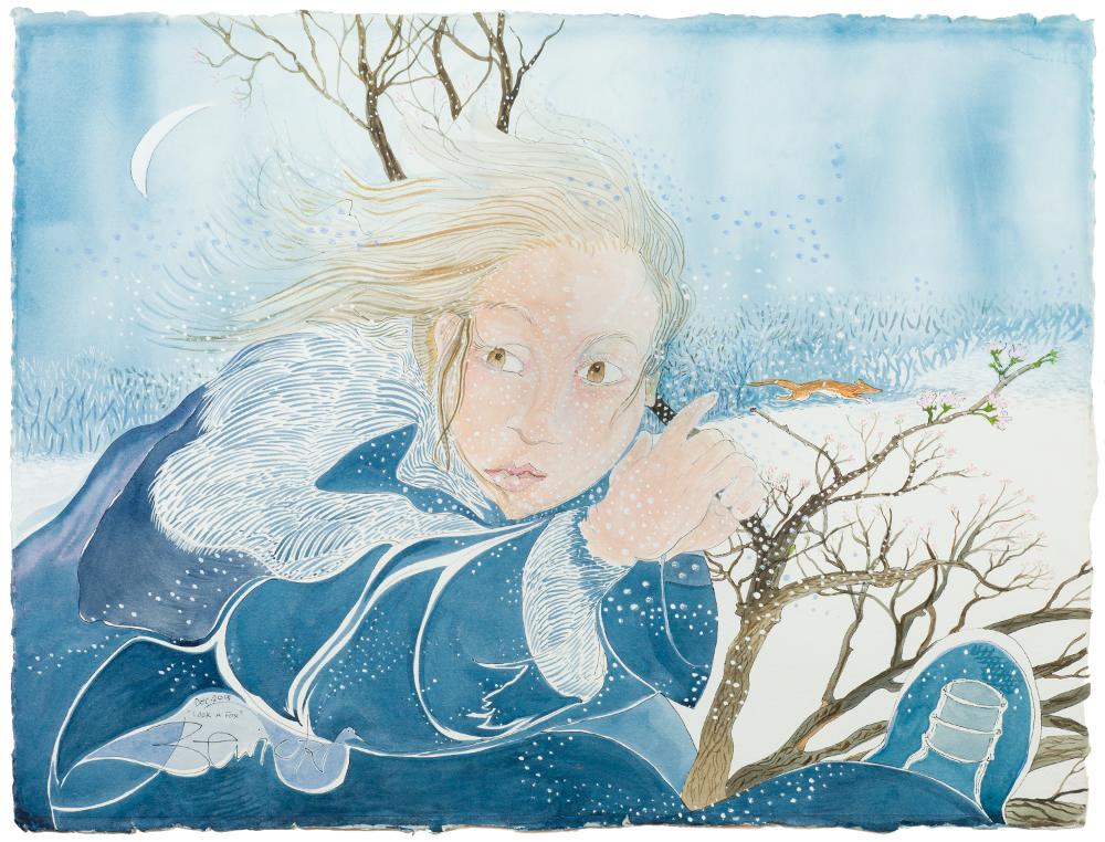 'Look a Fox' 2015 Watercolour and acrylic 88cm x 107cm