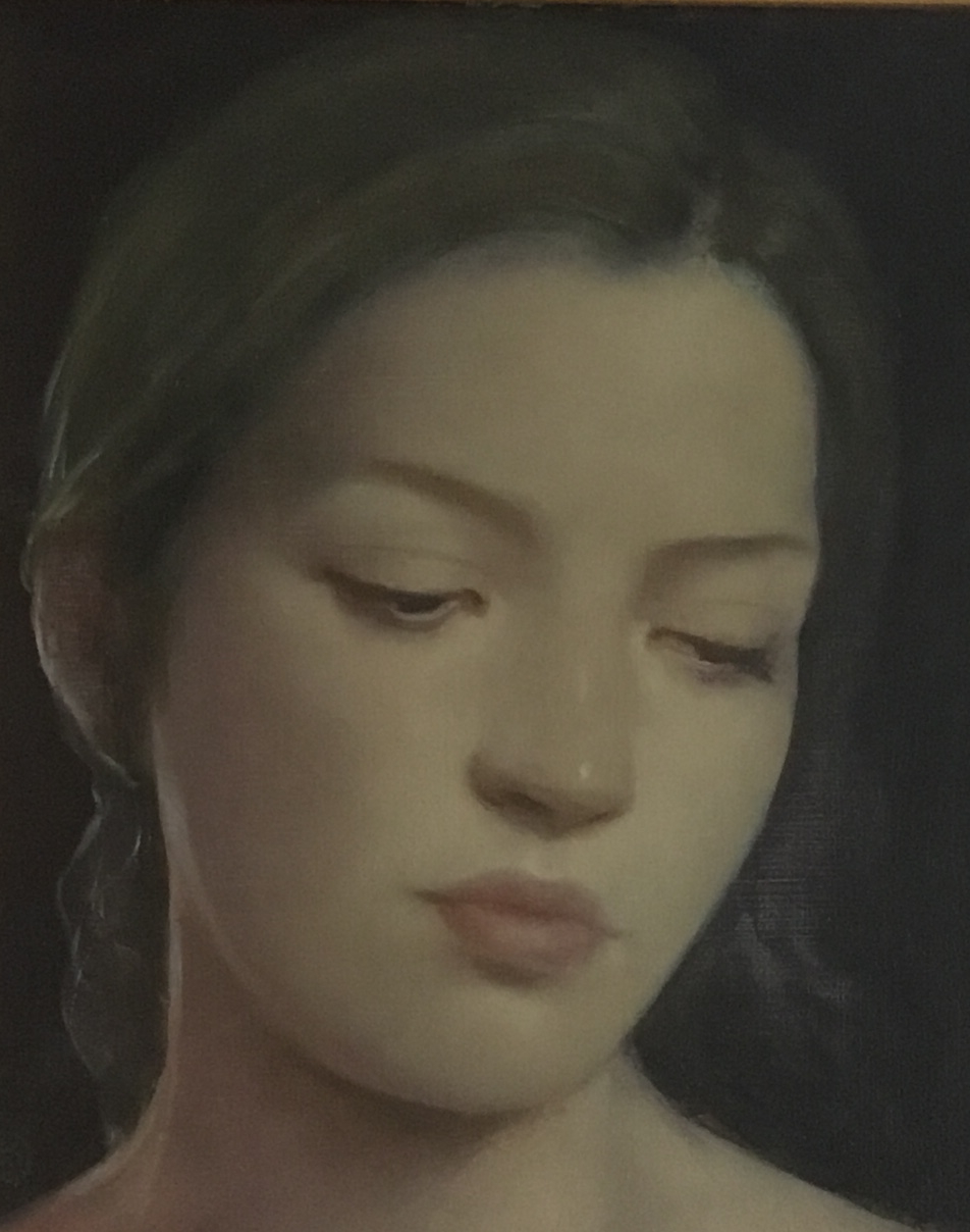"""'The Glance' oil on board 10"""" X 8"""", £3,500"""