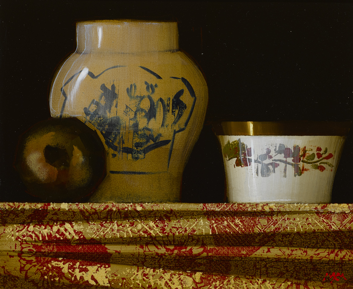 "SOLD Still Life with Chinese Vase, oil on panel, 10"" x 12"", £2,800"