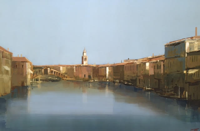 "Venice, Bacino, oil on panel, 24"" x 36"", £11,000"