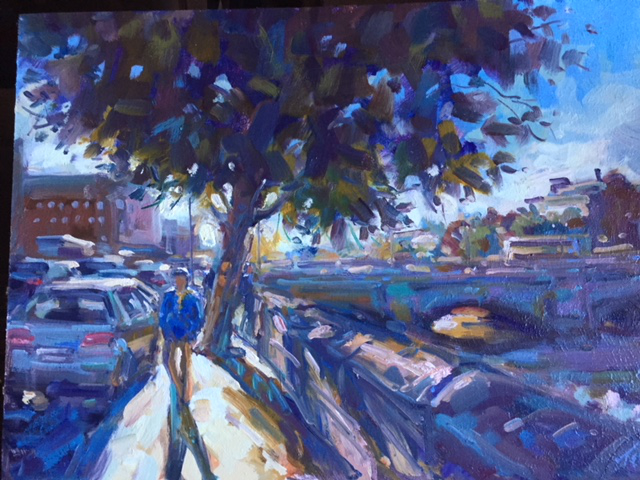 O'Connell Bridge, Dublin by, Oil on board, 31cm x 42cm - £1400