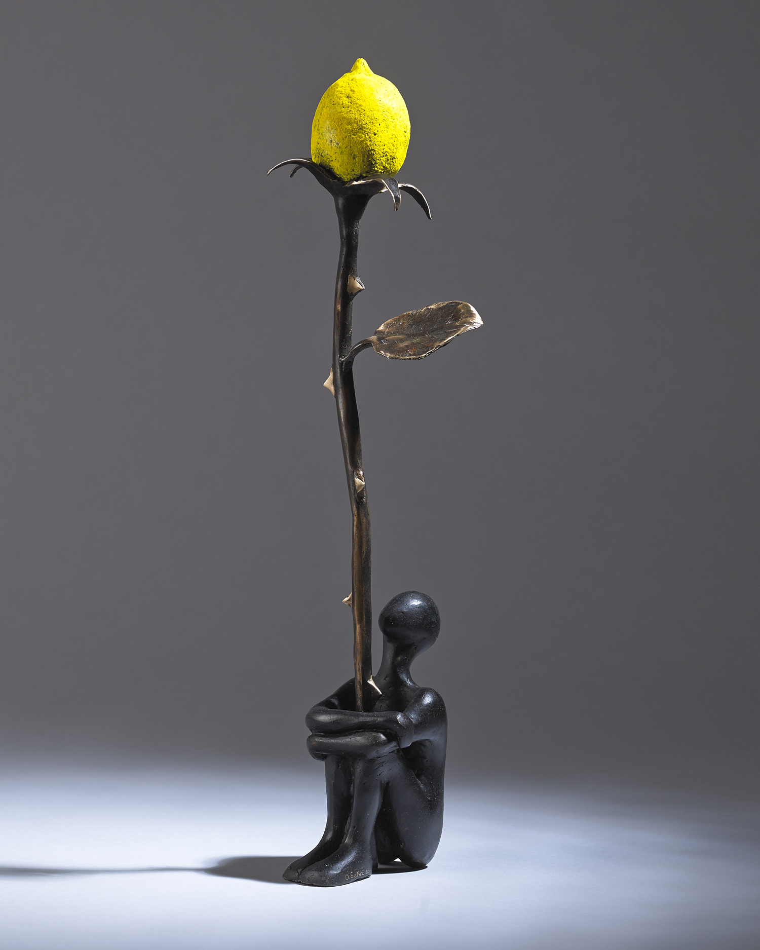 "'Lemon Rose'  female Unique bronze and pure pigment 19"" x 5"" x 3""£3000"