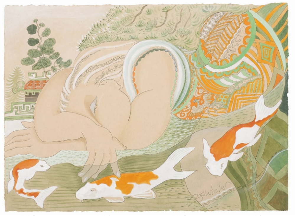 'Asleep with Koi Carp' 2010 Watercolour and acrylic 94cm x 112cm - £12,800