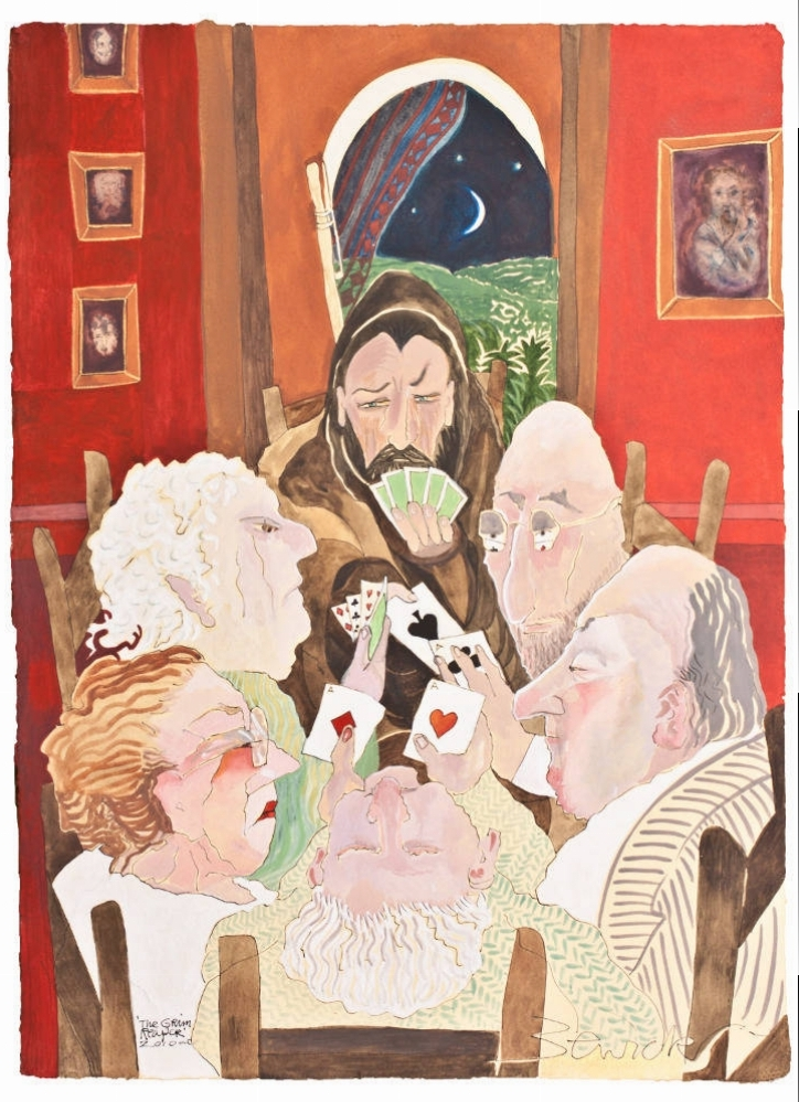 'Poker Game with the Grim Reaper' 2010 Watercolour and acrylic 112cm x 89cm - £12,500