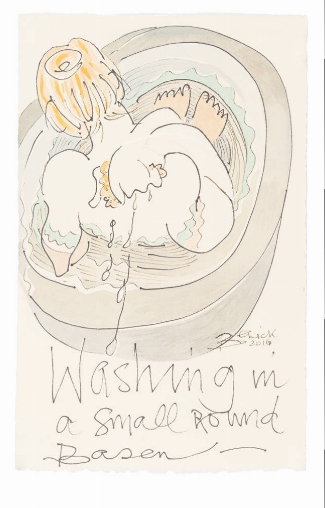 'Washing in a Small Round Basin' 2017 Watercolour 43cm x 36cm - £2,500