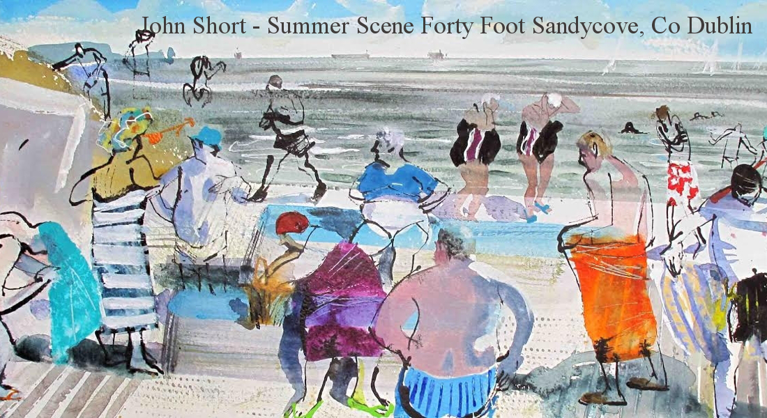 Forty-Foot-Summer-Bathers-Sandycove-County-Dublin-watercolour-and-ink-30-x-11.5in