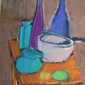 Auribeau Still life III, Pastel on paper, 28 x 20 cm, 11x8in