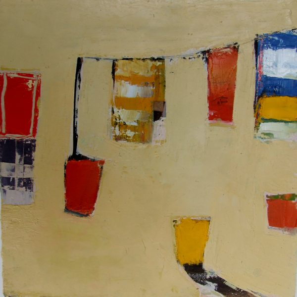 Catalan Clothesline I, Oil on board, 18 x 18 cm web
