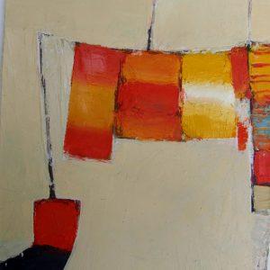 Catalan Clothesline II, Oil on Board, 18 x 18 cm  web