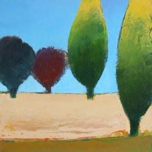 Garden in Provence I, Oil on board, 30 x 30 cm, 12 x 12in
